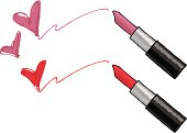 Hand drawn vector illustration of lipstick messages.  No gradients, easy to edit.