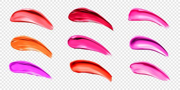 Lipstick smears, swatches of liquid lip gloss