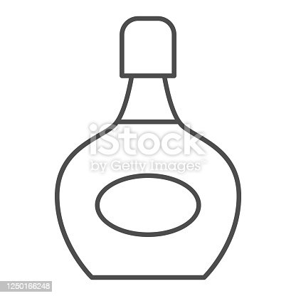 istock Liqueur bottle thin line icon, alcohol drinks concept, bottle of liqueur sign on white background, alcohol drink in a bottle icon in outline style for mobile concept, web design. Vector graphics. 1250166248