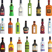 Liqueur, whiskey, vodka and other bottles of alcoholic drinks. Vector pictures in flat style. Alcohol bottle vodka and whiskey, liqueur and wine illustration