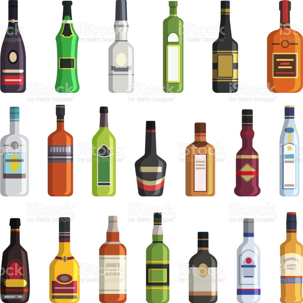Liqueur, whiskey, vodka and other bottles of alcoholic drinks. Vector pictures in flat style vector art illustration