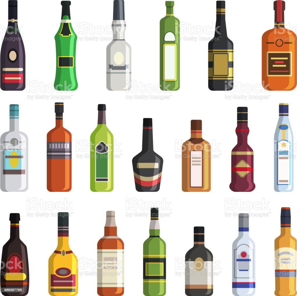 Licor, whisky, vodka y otras botellas de bebidas alcohólicas. Imágenes de vector de estilo plano - ilustración de arte vectorial