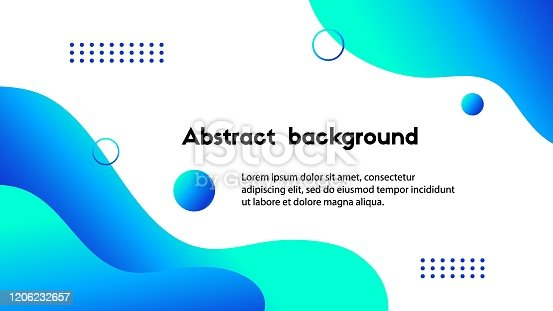 Liquid blue abstract background. Vector banner template for social media, web sites, Fluid wavy shapes and text