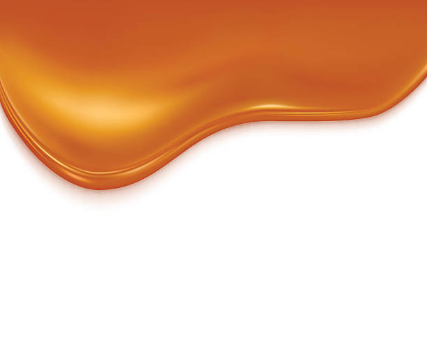liquid caramel liquid caramel on white background caramel stock illustrations