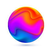 Liquid colors abstract sphere. Vector illustration.