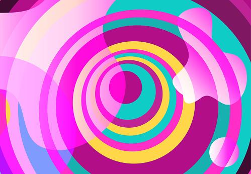 Liquid elements, mixed color plastic shapes or organic bubbles
