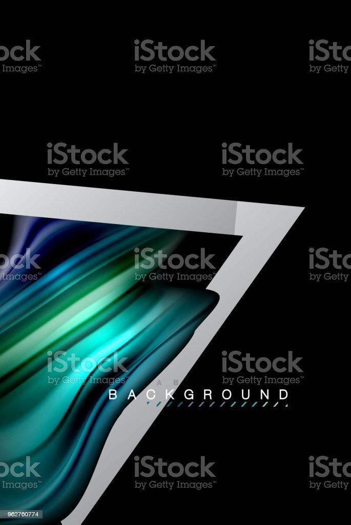Fluido líquido cores desenho holográfico com forma de linha de estilo metálico - Vetor de Abstrato royalty-free