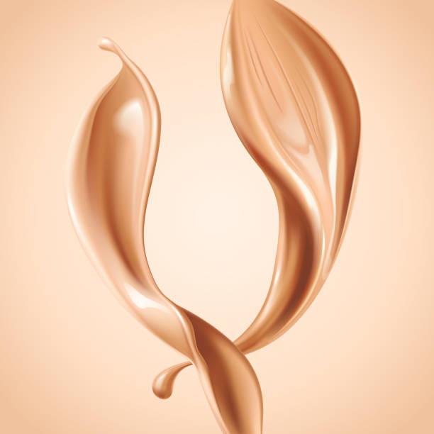 Liquid foundation elements. Splashing beige liquid, flow of creamy texture isolated on background. Vector realistic 3d illustration vector art illustration