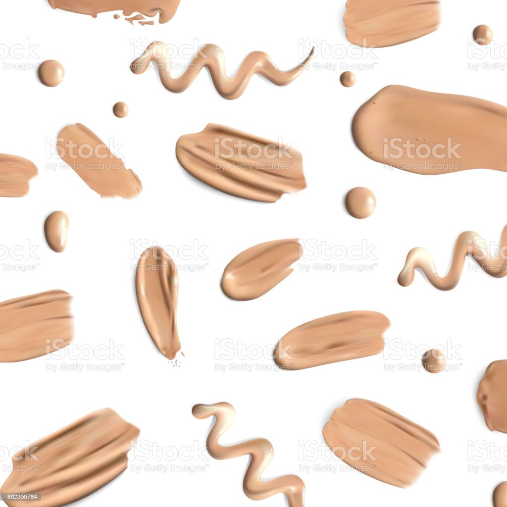 Liquid foundation smears on white background vector art illustration