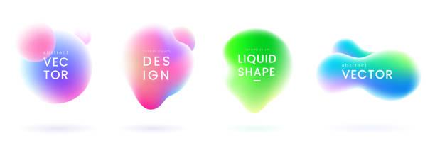 ilustrações de stock, clip art, desenhos animados e ícones de liquid gradient blobs set. abstract fluid shapes with chameleon effect. colorful liquid badges. decorative elements for your design. vector eps 10. - líquido