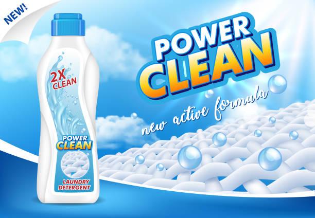 liquid laundry detergent ad vector realistic illustration - bleach stock illustrations