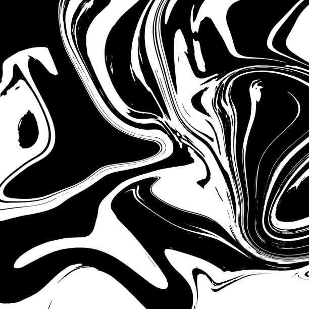 Liquid marble texture design, colorful marbling surface, black and white, vibrant abstract paint design, vector vector art illustration