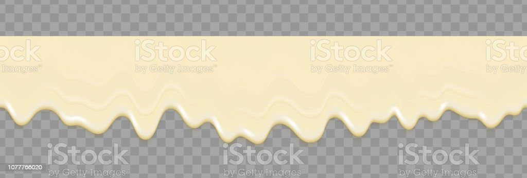Liquid mayonnaise white seamless texture. Mayonnaise realistic repeat texture isolated on transparent background. Cream pouring background. Vector gradient mesh. vector art illustration
