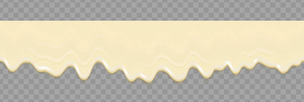 illustrazioni stock, clip art, cartoni animati e icone di tendenza di liquid mayonnaise white seamless texture. mayonnaise realistic repeat texture isolated on transparent background. cream pouring background. vector gradient mesh. - formaggio