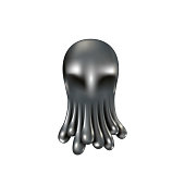 istock Liquid metal octopus 3D shape. Realistic chrome metal droplets look like octopus tentacles. 936422872