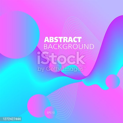 Liquid neon colored background. Bright pink, magenta, blue, cyan fluid. Abstract wave pattern and circles. Flowing 3d shape, motion illusion. Futuristic design for bold concepts, website templates, promotion materials. EPS10 illustration