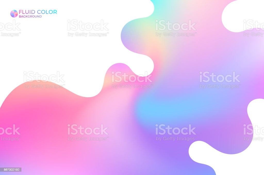 Liquid paint. Abstract iridescent background vector art illustration