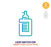 Liquid sanitizer vector icon illustration for logo, emblem or symbol use. Part of continuous one line minimalistic drawing series. Design elements with editable gradient stroke.