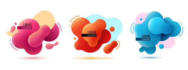 stockillustraties, clipart, cartoons en iconen met vloeibare vorm banners. vloeibare vormen abstracte kleurelementen verf vormen heldere grafische textuur 3d moderne vector design - bel vloeistof