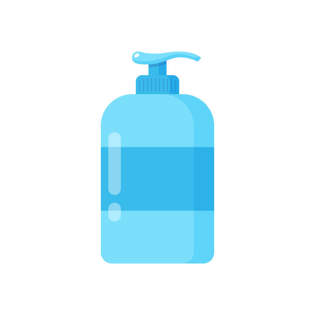 Liquid Soap and Dispenser Icon. Hand Cleaning for Soap, Disinfectant, Hygiene Concept Vector Design on White Background. Scalable to any size. Vector Illustration EPS 10 File. rubbing alcohol stock illustrations