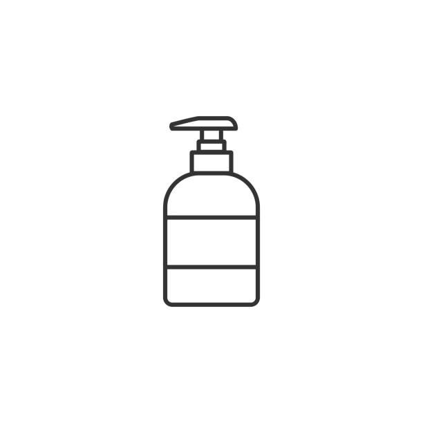 illustrazioni stock, clip art, cartoni animati e icone di tendenza di liquid soap dispenser line icon. vector illustration. - hand on glass covid