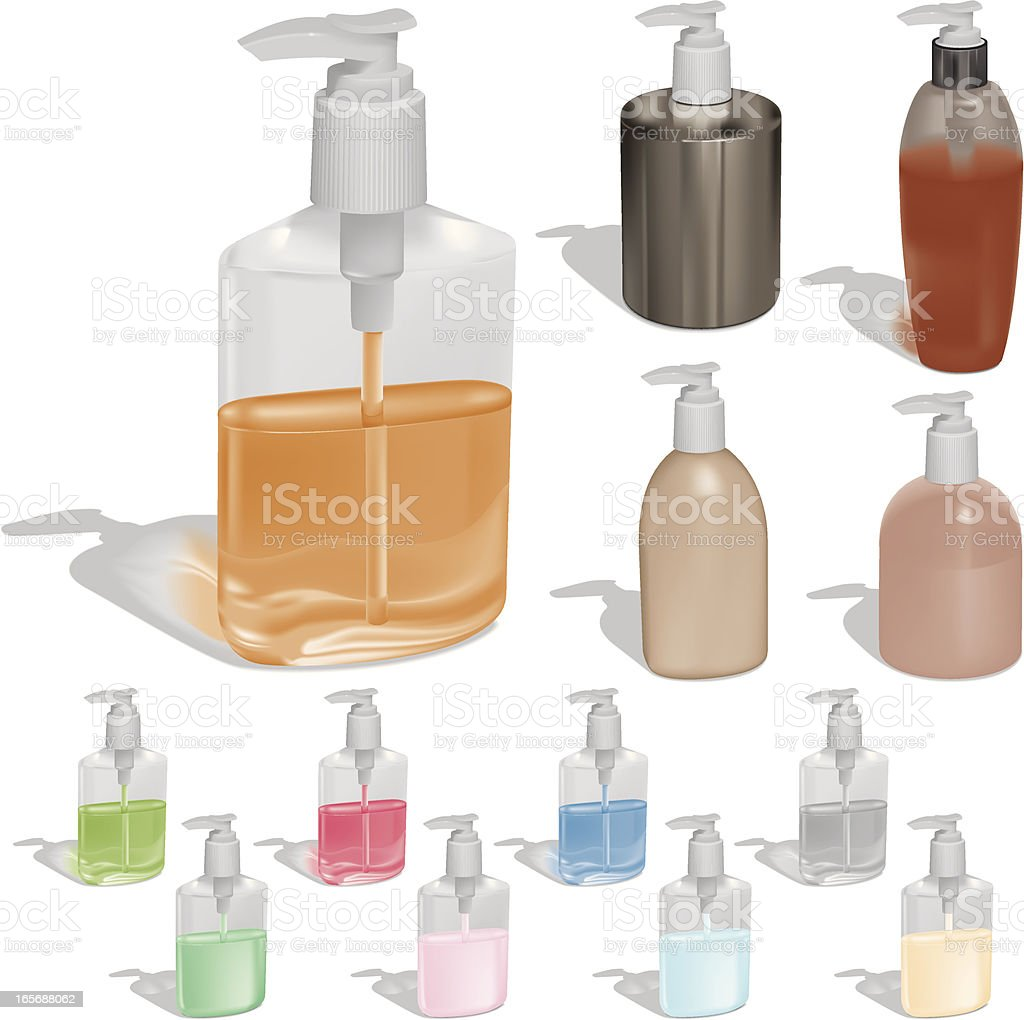 Liquid Soap in Pump Bottles royalty-free stock vector art