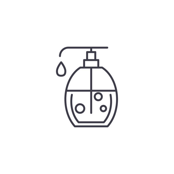 液體肥皂線性圖示概念。液體肥皂線向量符號, 符號, 插圖。向量藝術插圖