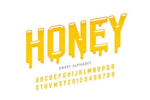 Liquid sweet honey font Liquid sweet honey font, alphabet letters and numbers vector illustration caramel stock illustrations