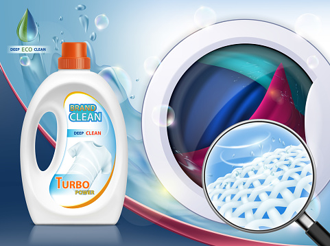 Liquid washing powder. Packaging with laundry detergent.