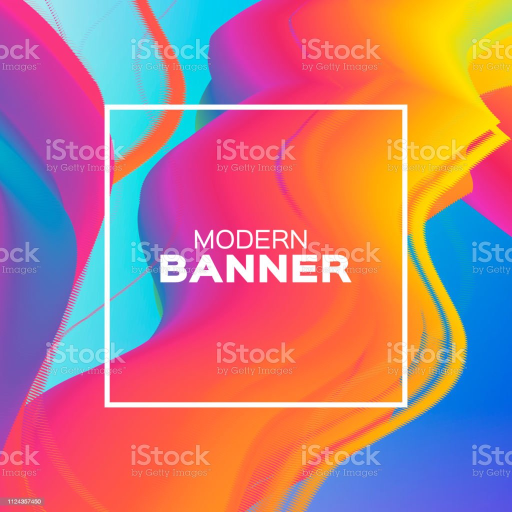 Liquid Wave Poster Colorful Smoke Shapes With Square Frame