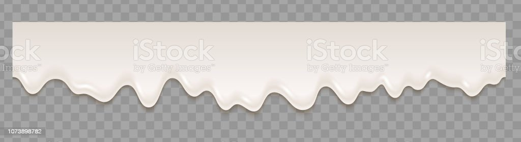 Liquid yogurt white seamless texture flowing on transparent background. Vector repeat illustration. vector art illustration