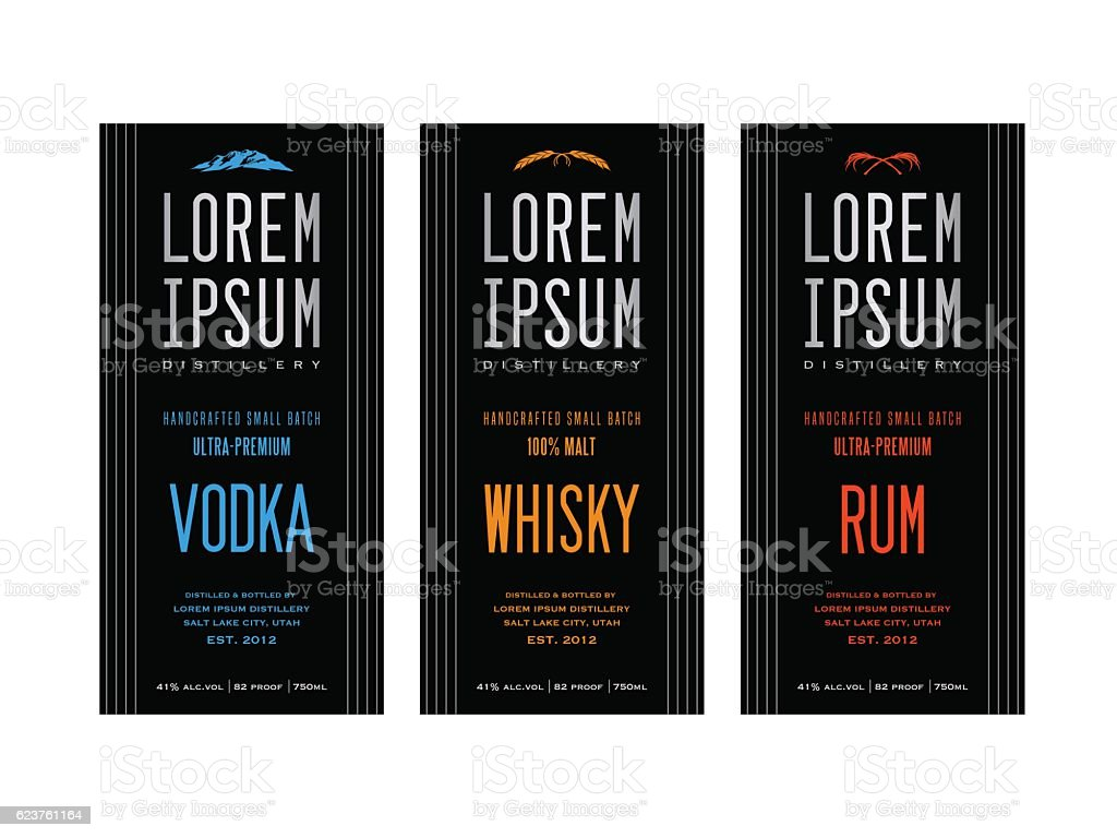 liquor bottle label designs for vodka, whiskey and rum vector art illustration