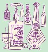Liquor Bottles and Glass