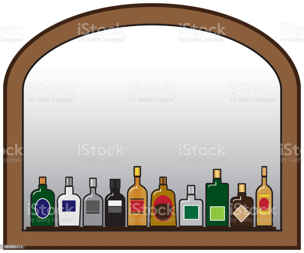 Liquor Bottles and Mirror vector art illustration
