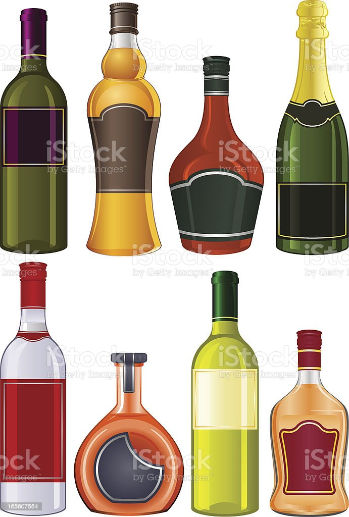 Liquor bottles vector art illustration