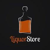 istock Liquor store. Whiskey bottle or decanter of cognac, bourbon, brandy, rum on black background 1296032467