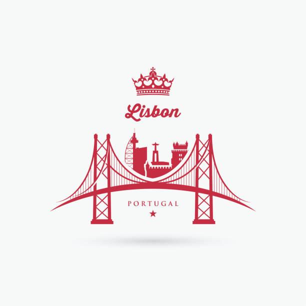 symbol mostu w lizbonie - ilustracja wektorowa - lizbona stock illustrations