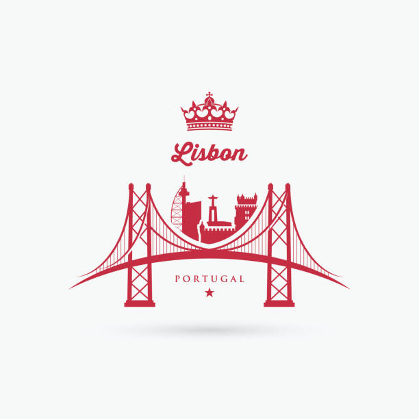 illustrazioni stock, clip art, cartoni animati e icone di tendenza di lisbon bridge symbol - vector illustration - lisbona