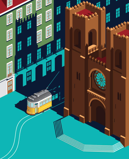 illustrazioni stock, clip art, cartoni animati e icone di tendenza di lisbon catedral and yellow tram landmark - lisbona