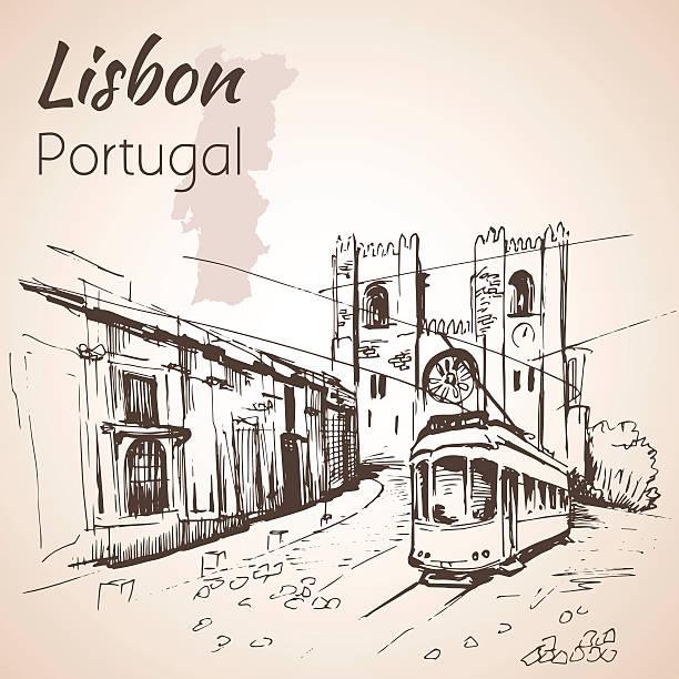 ilustrações de stock, clip art, desenhos animados e ícones de lisbon cathedral and tram. - eletrico lisboa