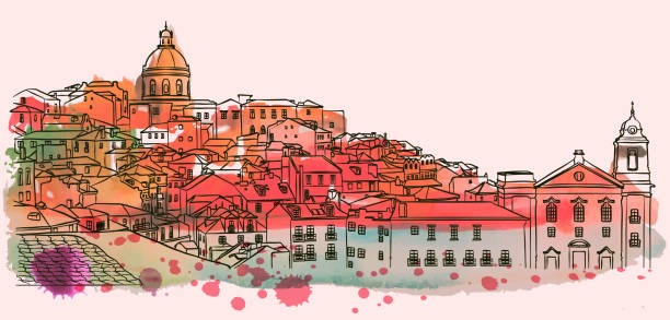 illustrazioni stock, clip art, cartoni animati e icone di tendenza di lisbon cityscape skyline. watercolor vector - lisbona