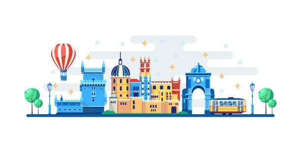 lisbon cityscape with famous touristic landmarks. vector flat illustration. travel to portugal banner design elements - lizbona stock illustrations