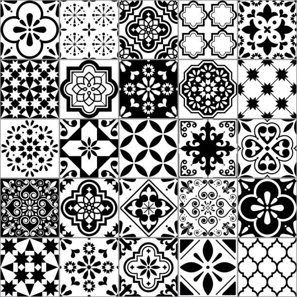 ilustrações de stock, clip art, desenhos animados e ícones de lisbon geometric azulejo tile vector pattern, portuguese or spanish retro old tiles mosaic, mediterranean seamless black and white design - mosaicos flores