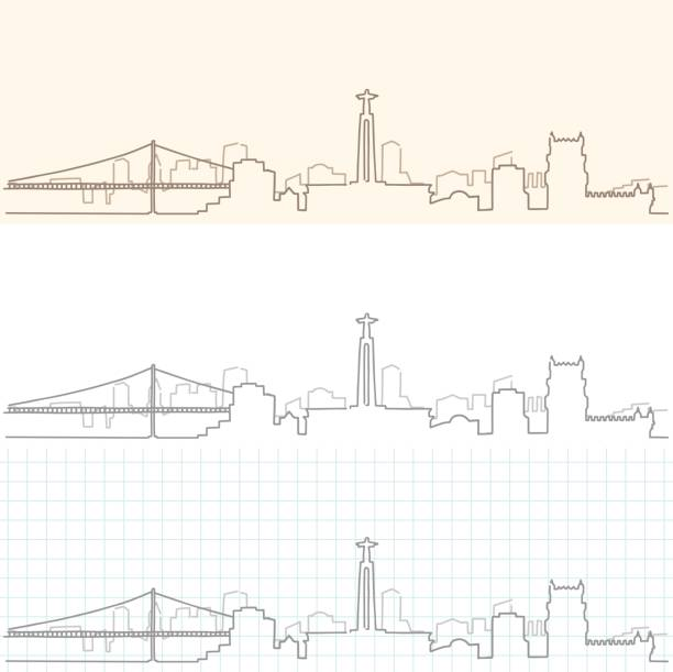 lisbon hand drawn skyline - lizbona stock illustrations