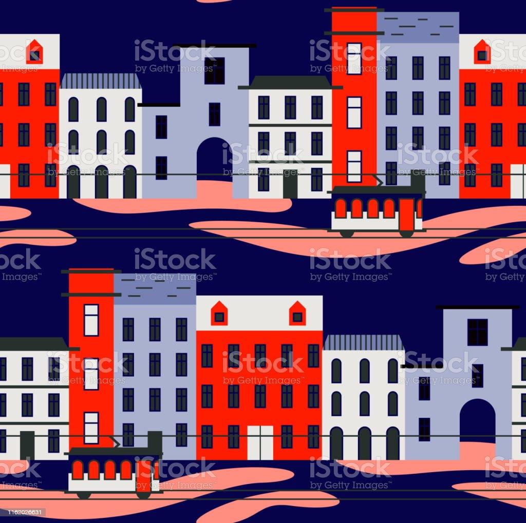 Lisbon pattern seamless design graphic - Royalty-free Antigo arte vetorial