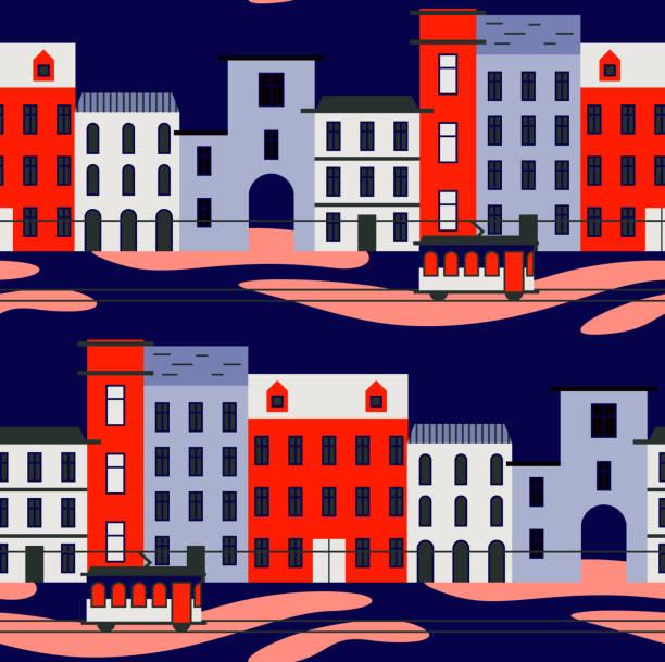 ilustrações de stock, clip art, desenhos animados e ícones de lisbon pattern seamless design graphic - eletrico lisboa