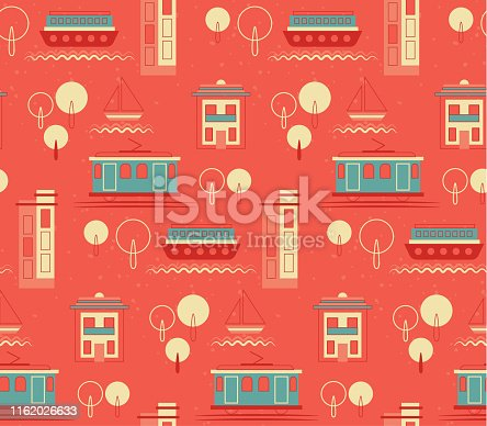 Lisbon pattern seamless design. Decoration textile and paper series