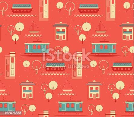 Lisbon pattern seamless design. Decoration textile and paper series