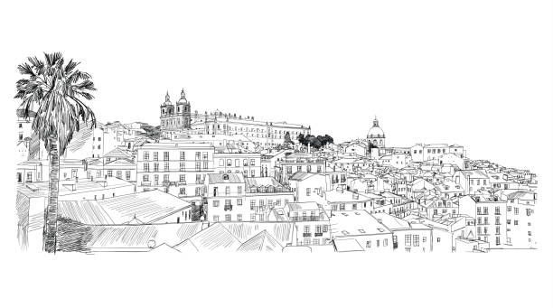 lisbon, portugal. alfama. vector freehand pencil sketch. - lizbona stock illustrations