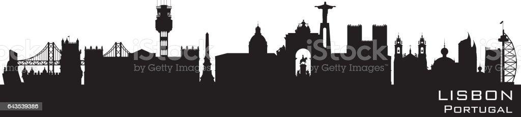 Lisbon Portugal city skyline silhouette - Grafika wektorowa royalty-free (Architektura)